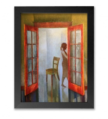 Oil painting of a pony-tailed woman walking through a room
