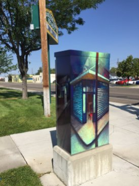 Just Around the Corner, traffic box at 23rd and Main Streets, Boise
