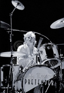 Martin Chambers, in one of my best-ever drummer shots. I would strike gold again with an image of him, on the '81 tour, in a color photo