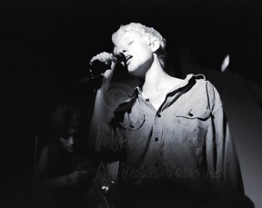 Ms. Sally Timms in the spotlight, while Ms. Susan Honeyman plays her part in the background. Nice lighting meant no need to use a flash again, thank goodness. Live at the Berkeley Square, Berkeley, Ca May 6, 1987