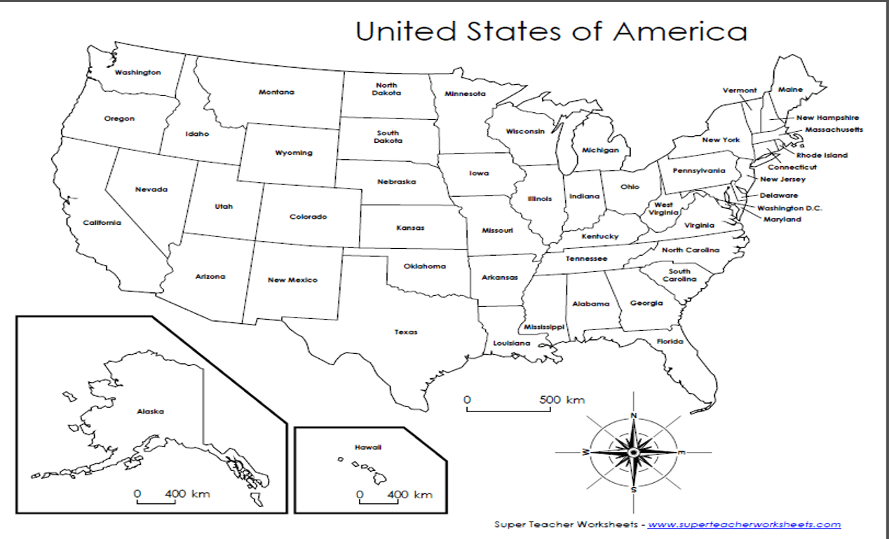 United States Map Worksheet