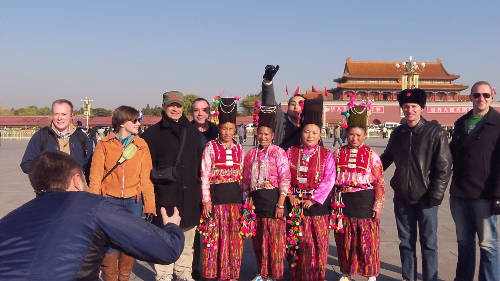 With traditional dance group in Tienanmen square