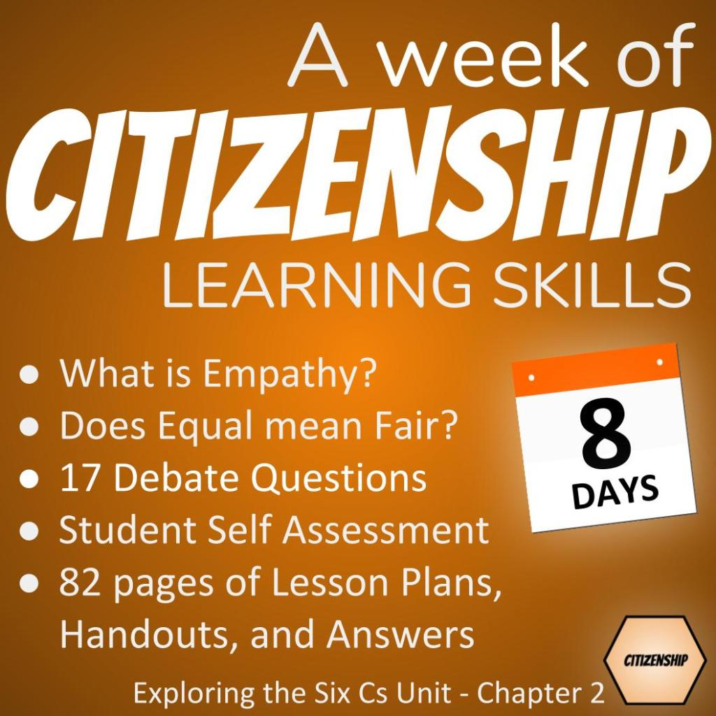 Cover slide: what is empathy, does equal mean fair, 17 debate questions, student self-assessment, lesson plan, handout, and answers