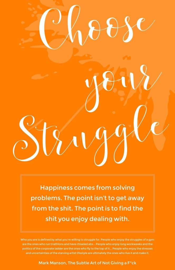 Choose your struggle: Happiness comes from solving problems. The point isn't to get away from the shit. The point is to find the shit you enjoy dealing with. (Mark Manson)