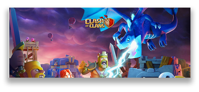 Screenshot of Clash of Clans game showing powerful characters fighting.
