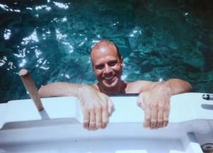 Mark - climbing on board, Kaminaki, Corfu, 2001