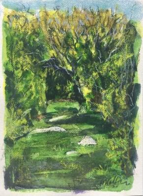 Pen, wax crayon and watercolor, 12 x 18 in.,