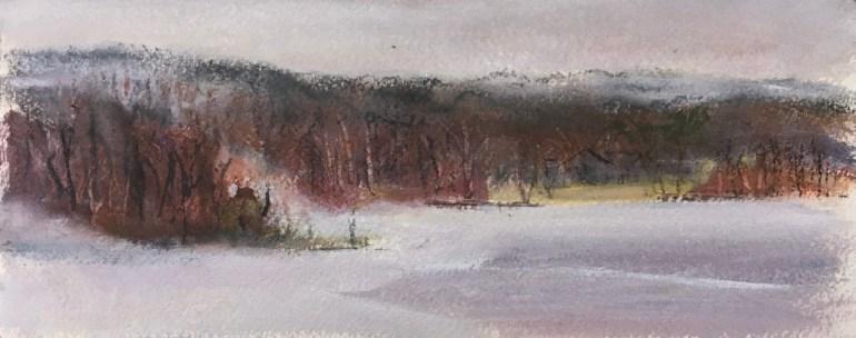Upton Lake - rain, lake partially frozen, January 4th, 2020