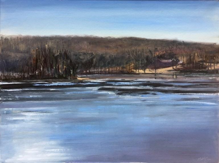 Upton Lake, partially frozen, February 17th, 2020