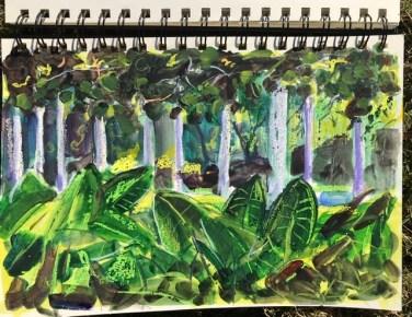 "Sketchbook, Brisbane (10 x 7""), City Botanic Gardens, Brisbane, June 6th, Pencil, wax crayon and watercolor, 2021"