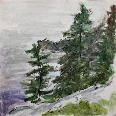 "Monhegan Island, Raining, July 13th Pen, wax crayon, watercolor and rain, 12 x 12"", 2021"