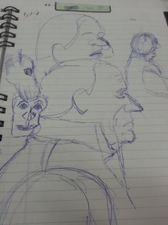 Terrible drawings of a coworker from life .