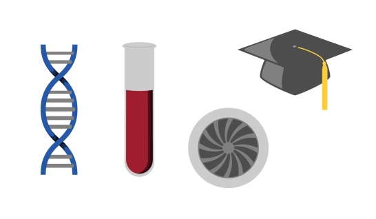 DNA, Test Tube, Jet Engine, and Mortar Board