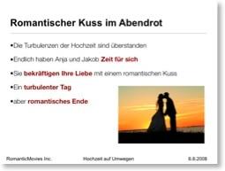 Beispiel: Hochzeitspaar küsst sich in Abendsonne (mit Textfolie)