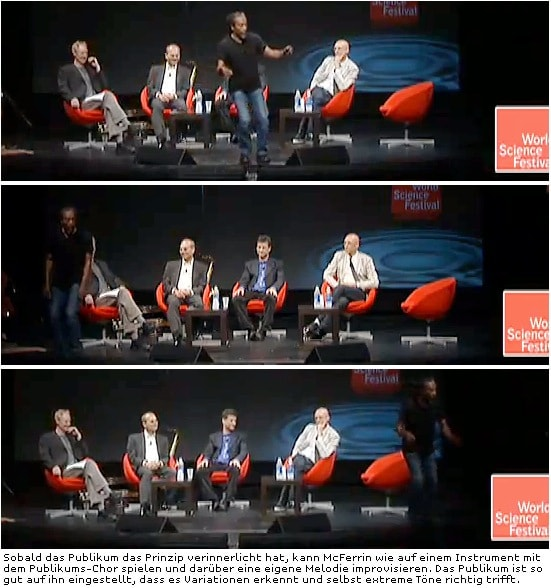 Bobby McFerrin benutzt das Publikum als Instrument und improvisiert dazu