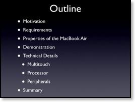 Fiktive Gliederung der Macworld-Keynote: Mögliche Gliederungsfolie