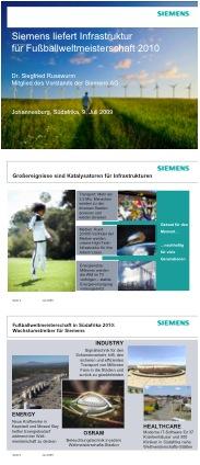 Folien zur Presseveranstaltung von Siemens zur Fußbwalweltmeisterschaft 2010