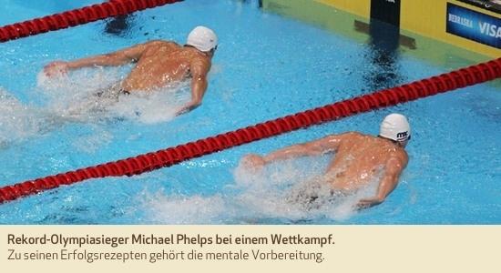 Rekord-Olympiasieger Michael Phelps bei einem Wettkampf. Zu seinen Erfolgsrezepten gehört die mentale Vorbereitung.