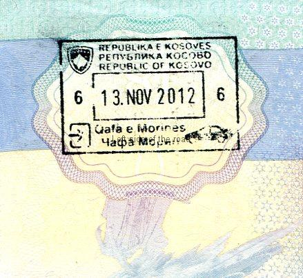 Kosovo entry stamp