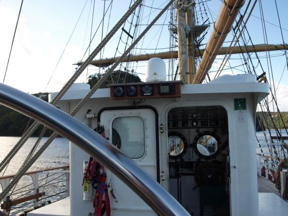 View from the helm of a tall ship