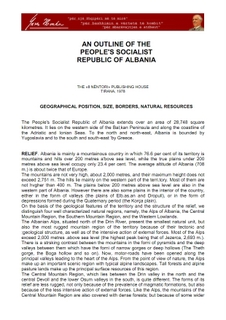 An Outline of the Peoples Socialist Republic of Albania