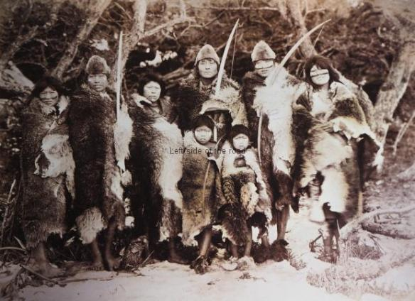 Selk'nam group in traditional dress