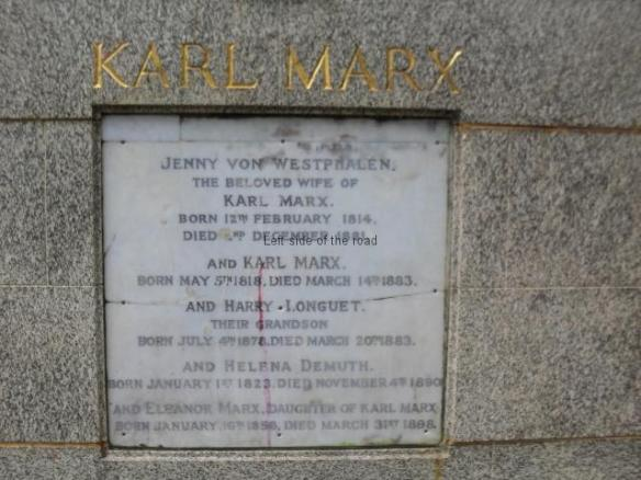 Karl Marx Tomb - central plaque