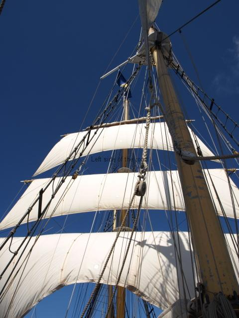 Tall ship under sail in the Caribbean