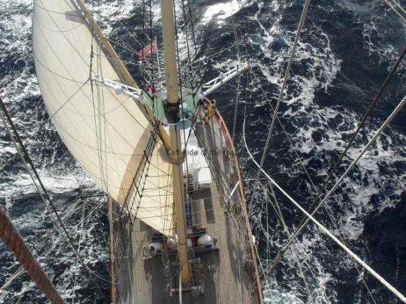 View from main mast in Mid-Atlantic