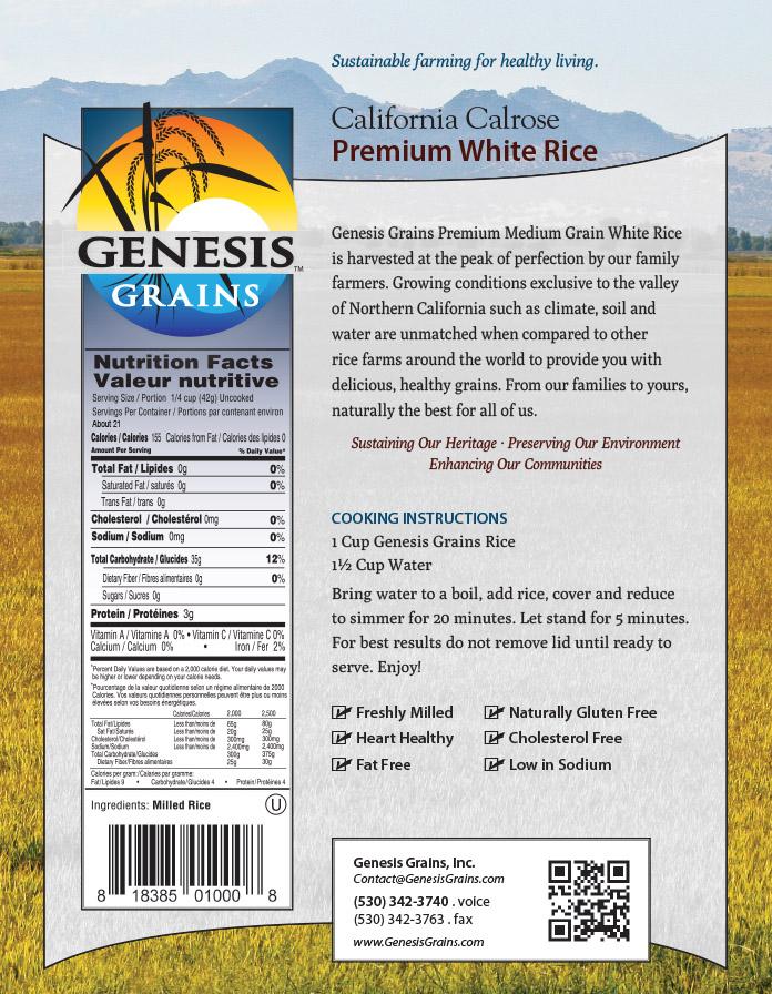 Genesis Grains packaging