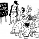cartoon showing coach teaching in front of class of people