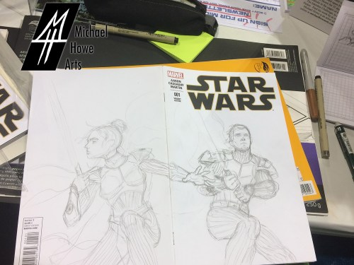 A star wars sketch cover with a pencil sketch of two imperial knights, a female and a male in armor with lightsabers