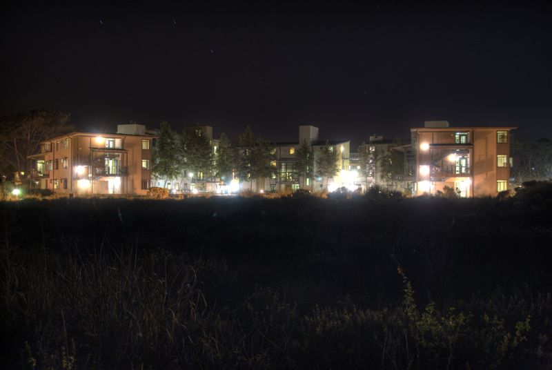 The UCSB dorm Manzanita Village at night.