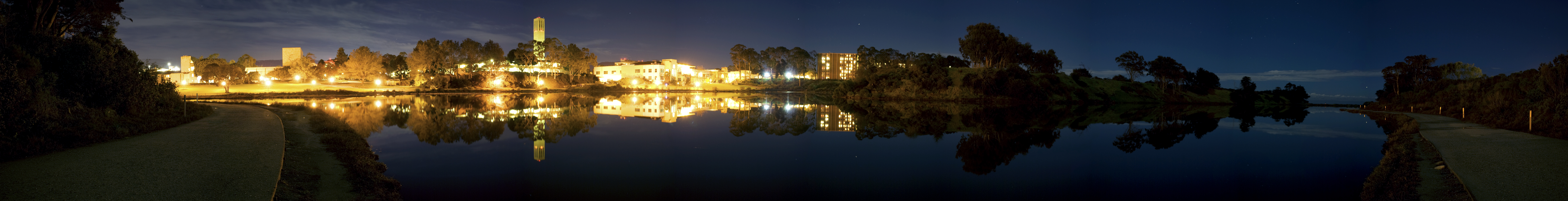 The UCSB lagoon on a moonlit night.