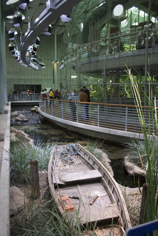 The San Francisco Academy of Sciences, on the edge of the rain forest sphere.