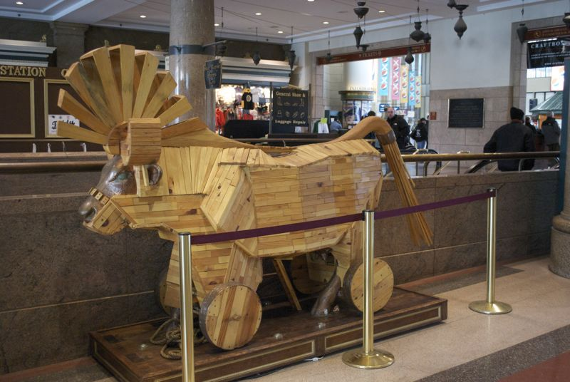 A Trojan Cow in Boston South Station. Or maybe an Easter Cow?