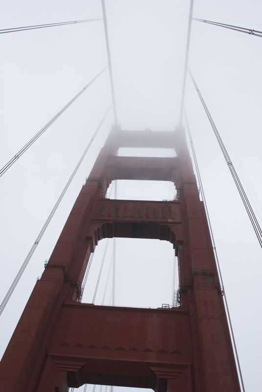 Driving across the Golden Gate Bridge in the summer fog.