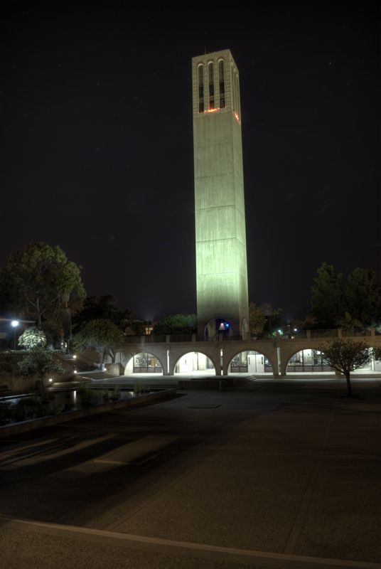 Storke tower at night.