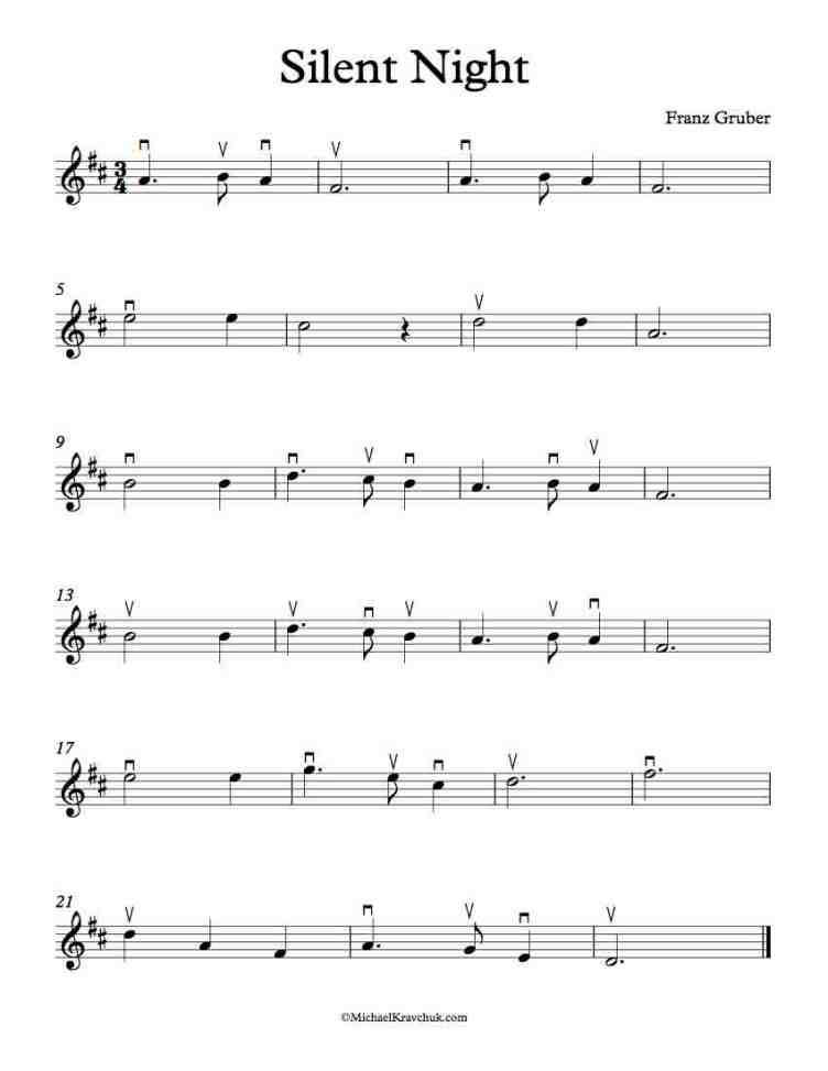 Free Violin Sheet Music – Silent Night – Michael Kravchuk