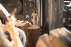 WoodRichard Kinard splits wood before selling it at his wood shed. Documentary