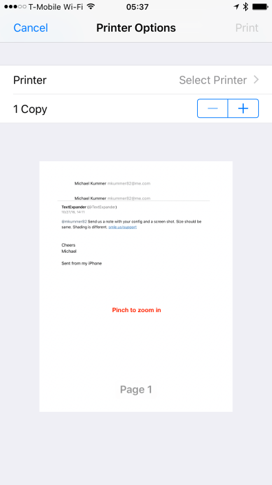 Print to PDF on iOS
