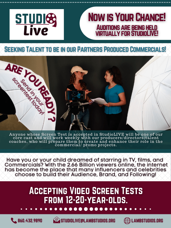studioLIVE Email-talents for Screen Tests for client commercials