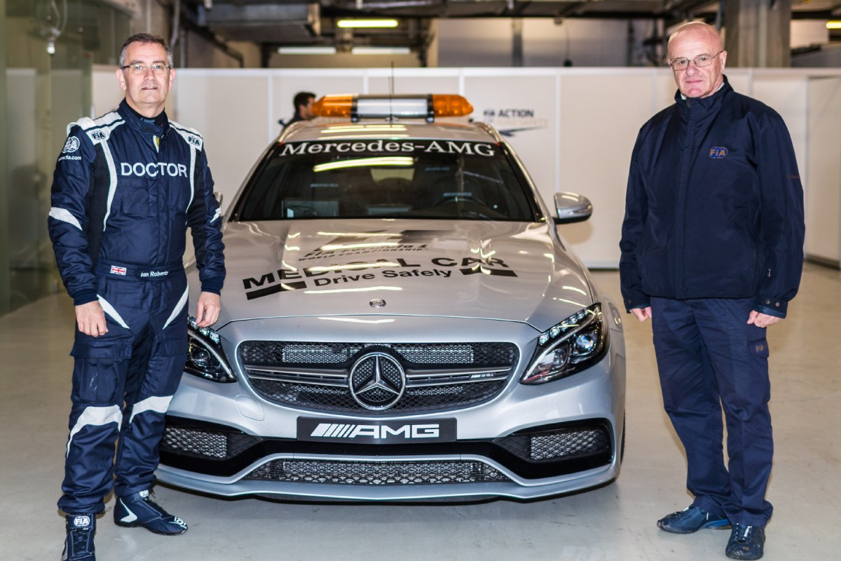 FIA deputy medical delegate Dr Ian Roberts and FIA medical delegate Alain Chantegret with the F1 medical car