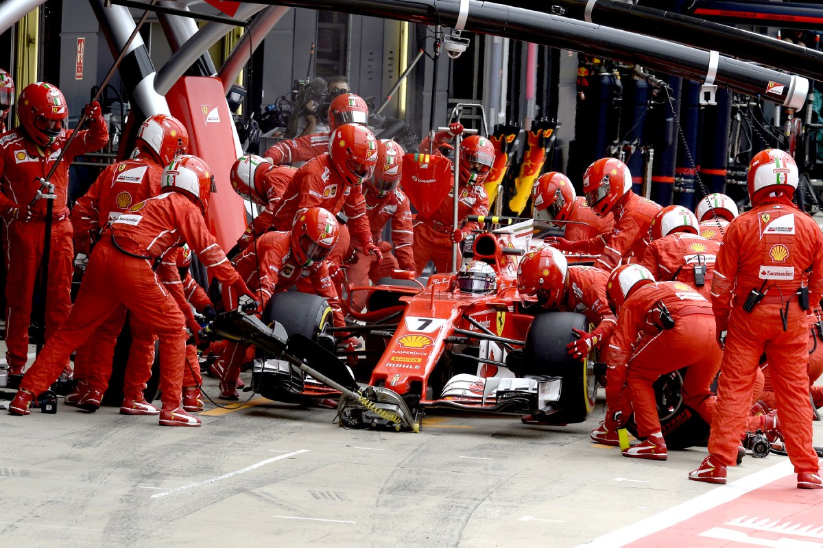 Kimi Raikkonen makes a pit stop at the 2017 British Grand Prix.