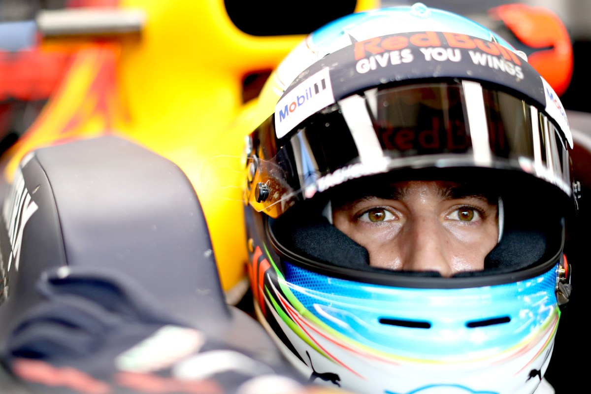 Daniel Ricciardo sits in his Red Bull Racing car at the 2017 Austrian Grand Prix