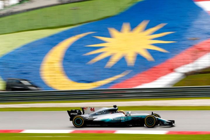 Lewis Hamilton on track at the 2017 Malaysian Grand Prix.