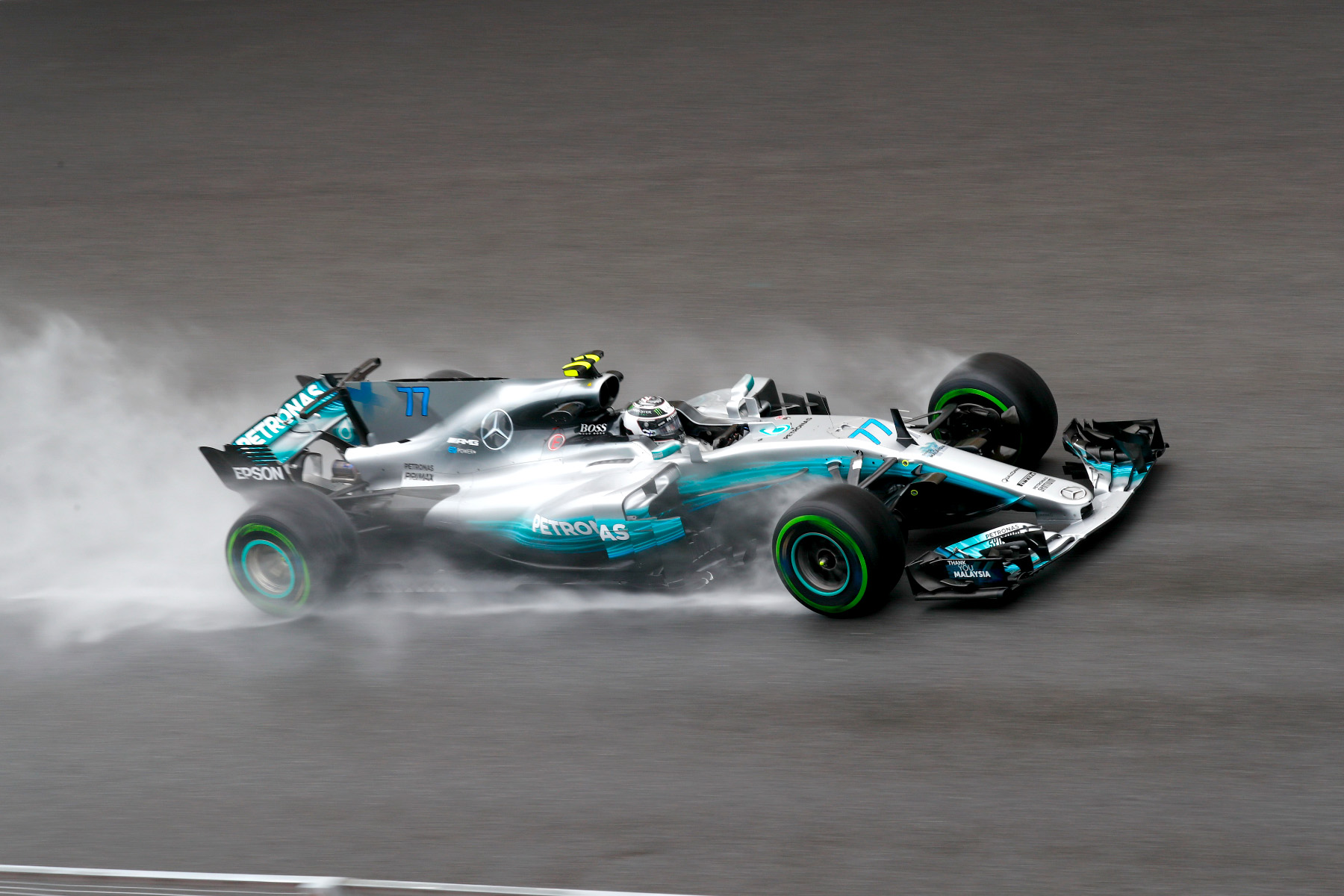 Valtteri Bottas drives in the wet during practice for the 2017 Malaysian Grand Prix.