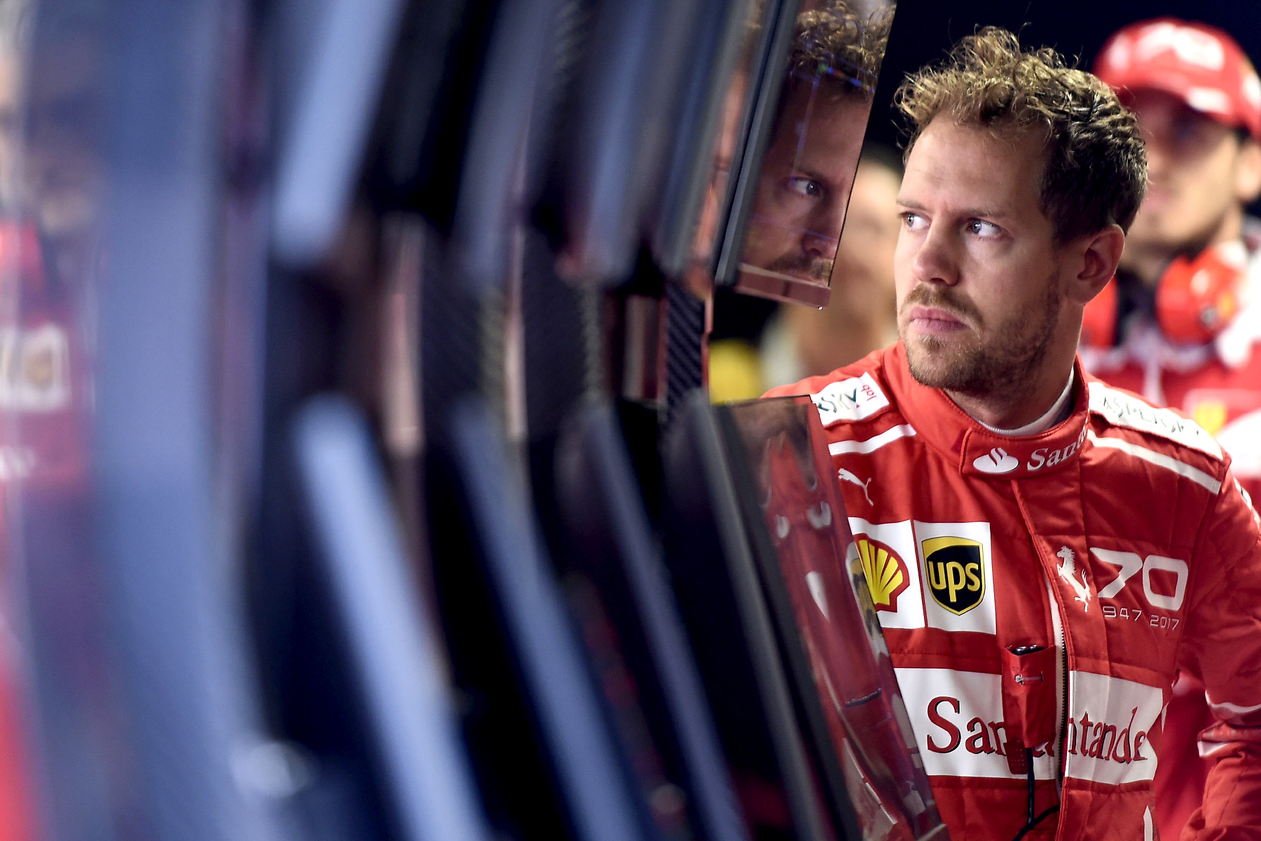 Sebastian Vettel in his garage at the 2017 Italian Grand Prix