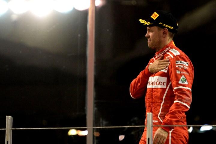 Sebastian Vettel on the 2017 Abu Dhabi Grand Prix podium.