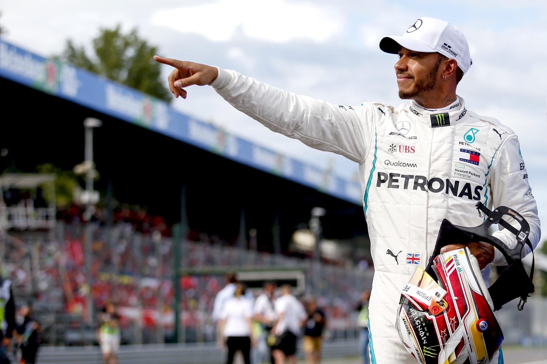 Lewis Hamilton celebrates at the 2018 Italian Grand Prix.